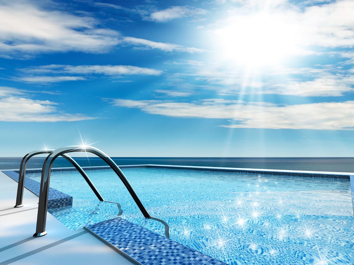 Бассейн, купание, вода, солнце, лето, отдых