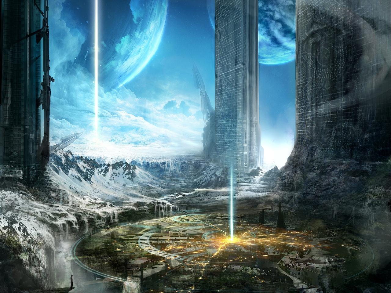 Арт, здания, hallelujah city, планеты