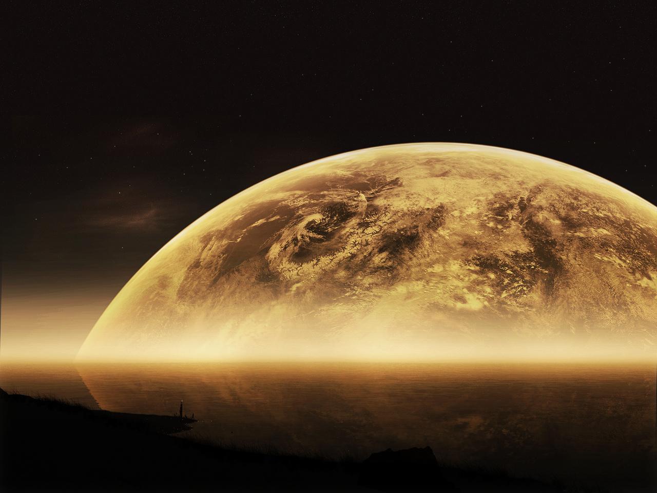edged, big, sci fi, Planets, moon