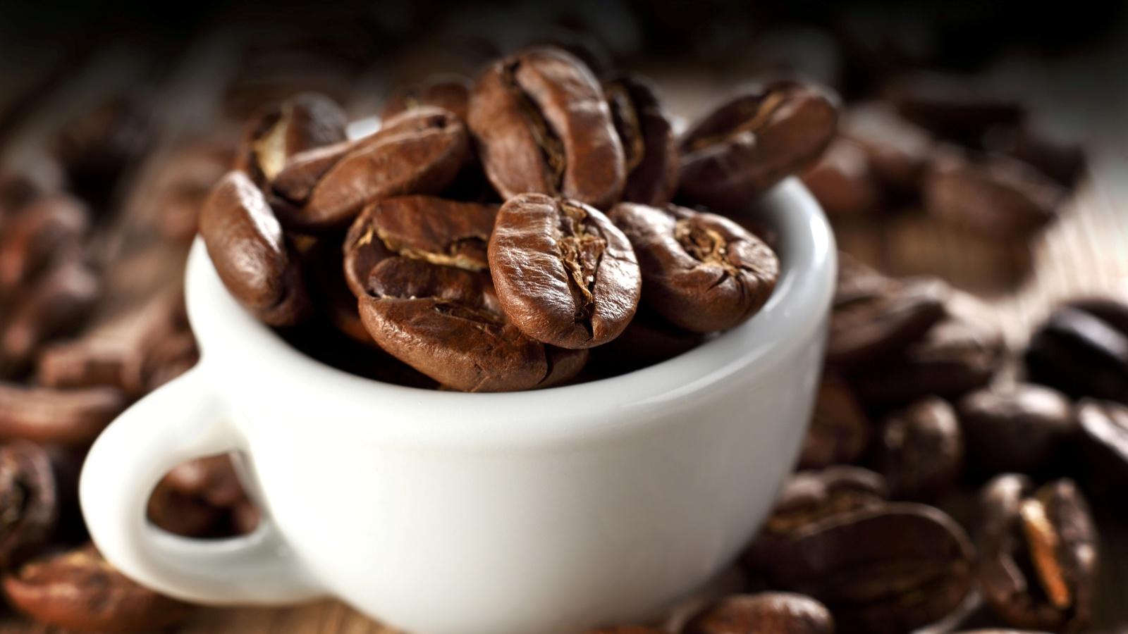кофе, чашка, белая, фон, Зерна, макро