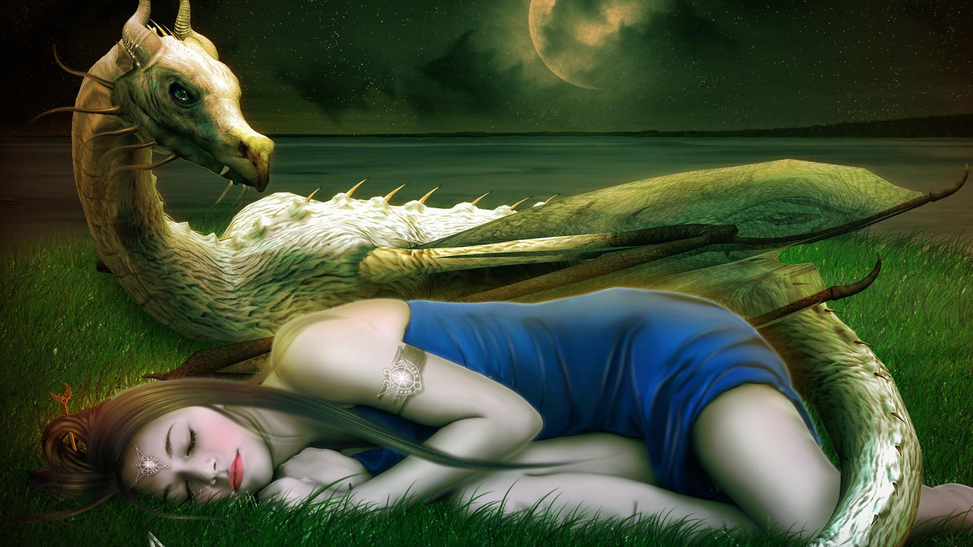 сон, лицо, украшения, девушка, арт, спит, Фантастика