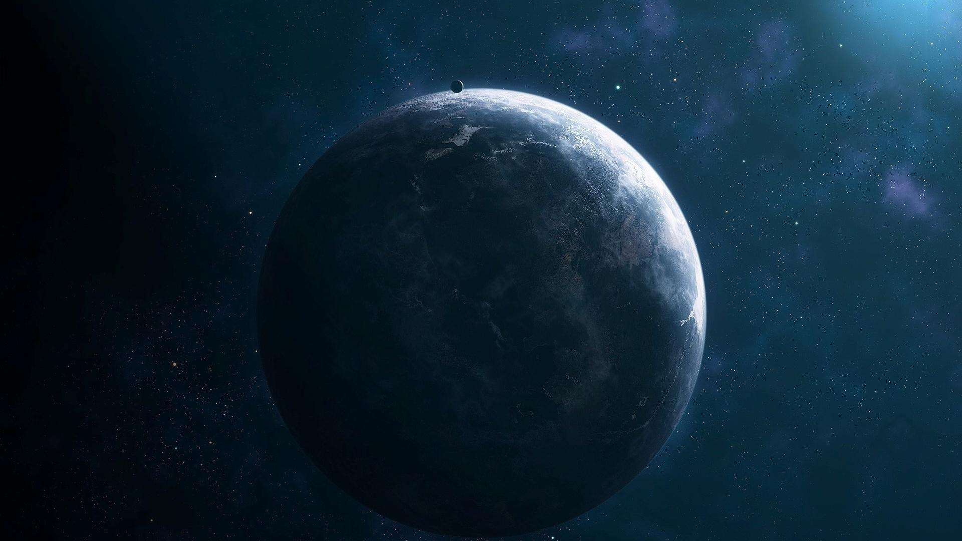 свет, сияние, спутник, звёзды, Планета, комос