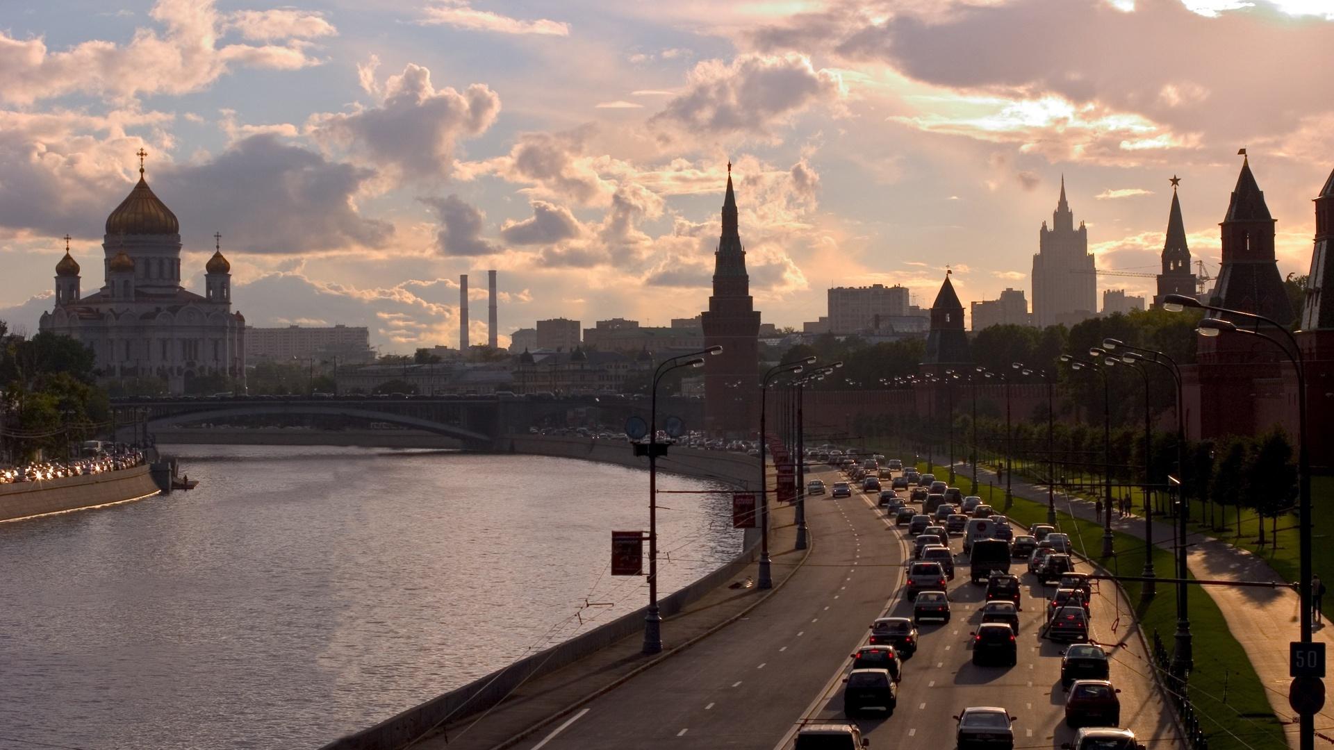 Город, москва, россия, река, набережная, столица