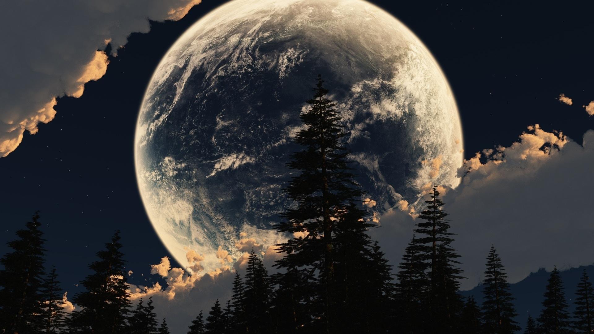 луна, планета, коллаж, небо, Земля, облака, звезды