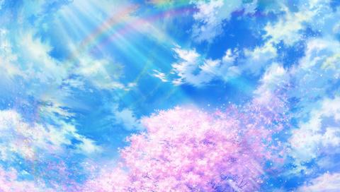сакура, радуга, природа, tsujiki, облака, Арт, небо