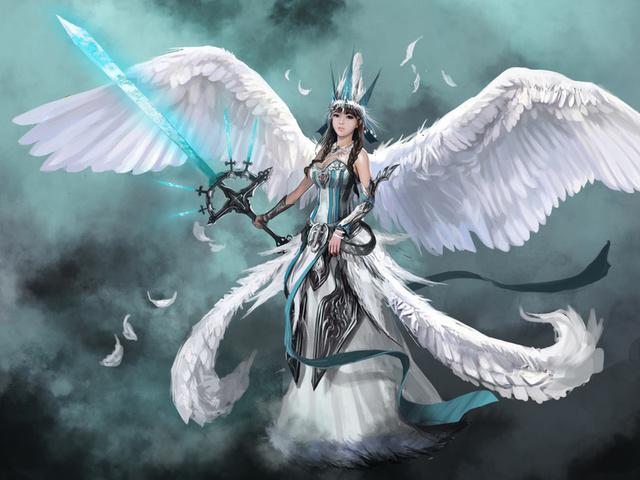 девушка, оружие, ангел, Фантастика, angel, крылья, меч, арт