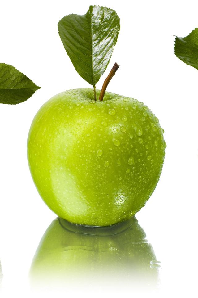 листья, капли, Яблоки, отражение, вода, зелёные