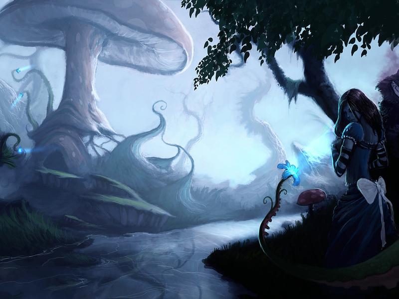 кот, цветок, река, алиса, Арт, alice madness returns, грибы