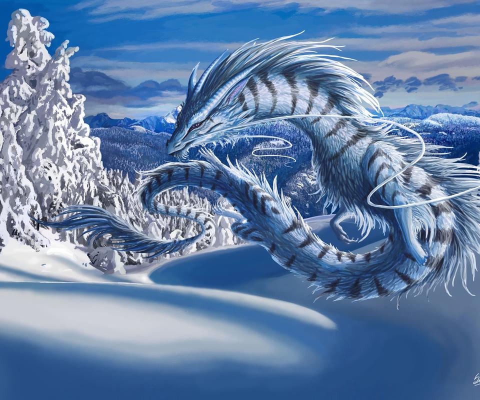зима, Дракон, пейзаж, снег